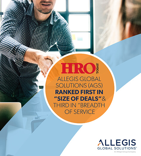 Man in Patterned Shirt, Shaking Hands with Someone - For HRO Allegis Global Solutions (AGS) Ranked First In Size of Deals & Third in Breadth of Service.