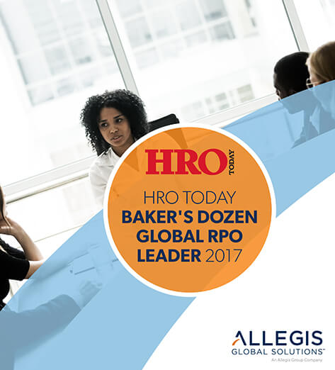 Four Colleagues At A Table Discussing Topics - For HRO Today Baker's Dozen Global RPO Leader 2017