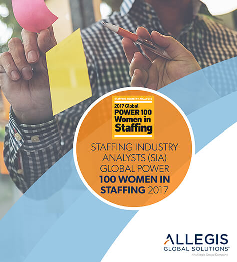 Two People Discussing a Topic with Sticky Notes in their Hands & a Pen - For Staffing Industry Analysts (SIA) Global Power 100 Women in Staffing 2017