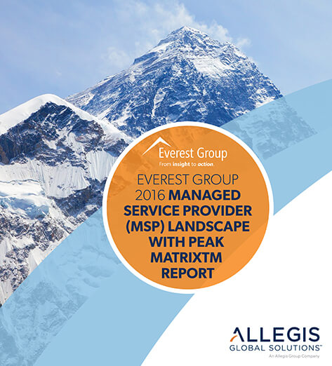 Mountain Peaks with Snow Caps and Overcast Skies - For Everest Group 2016 Managed Service Provider (MSP) Landscape with Peak Matrix Report