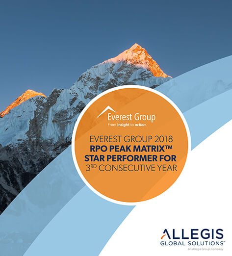 Close Up of Top of Mountain Peak - For Everest Group's 2018 RPO Peak Matrix Star Performer For 3rd Consecutive Year.