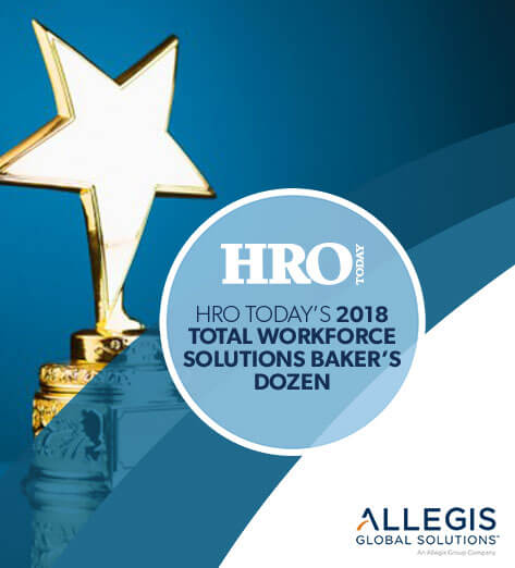 Single Star Award - For HRO Today's 2018 Total Workforce Solutions Baker's Dozen.