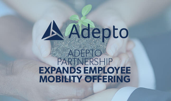 Hands Cupping Soil with a Small Plant Protruding Out of  The Soil - For Adepto Partnership Expands Employee Mobility Offering.