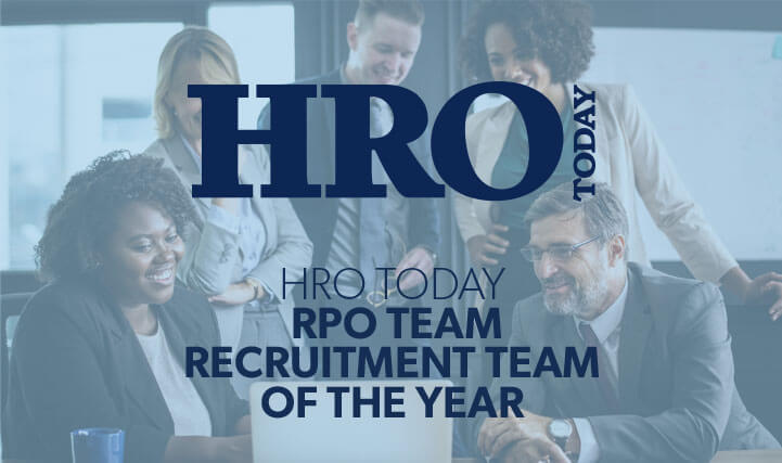 Four Professional Colleagues Smiling and Agreeing Together - HRO Today RPO Team Recruitment Team of The Year.