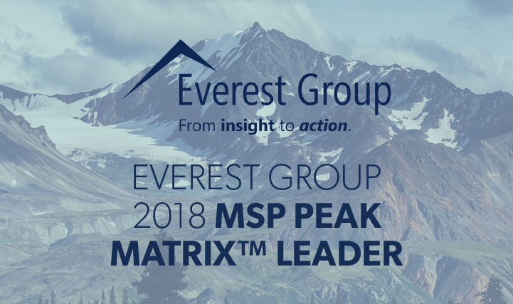 Mountain Peak with Cloudy Overcast in the Background - For Everest Group 2018 Peak Matrix Leader.
