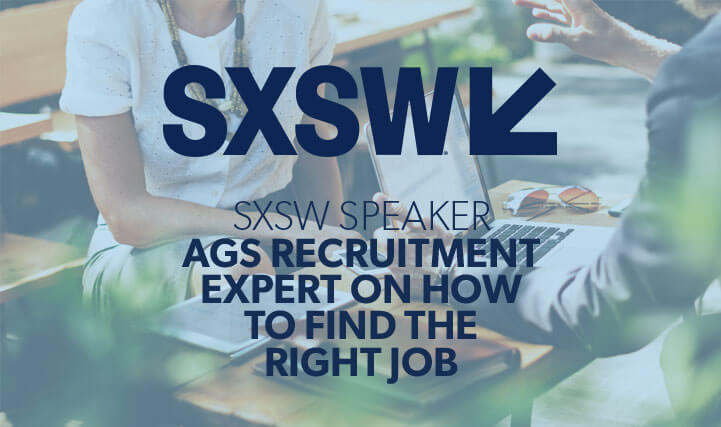 Professional Woman Sitting Down in Front of an Open Laptop - For SXSW Speaker AGS Recruitment Expert on How To Find The Right Job.