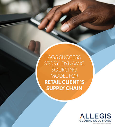 A Man's Right Hand on A Touchscreen - For AGS Success Story: Dynamic Sourcing Model for Retail Client's Supply Chain.