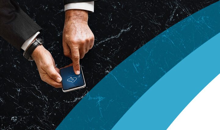 Left and Right Hand Holding a Smart Phone Opening an Application on the Phone - For Realigning Time Intelligence Metrics Via Business Analytics.