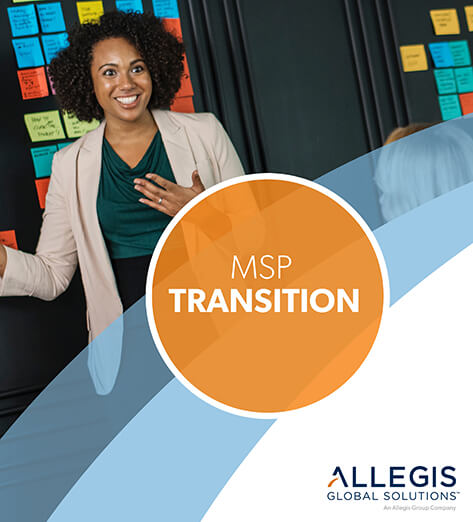 Professional Woman Talking In Front of  A Blackboard with Sticky Notes - For MSP Transition