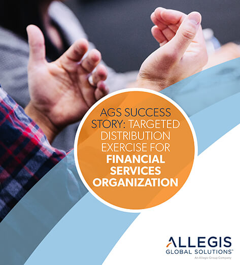 Open Hands of a Person While They are Talking - For AGS Success Story: Targeted Distribution Exercise For Financial Services Organization.