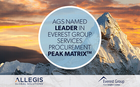 Mountain Peak with Snow Spread Here and There on It - For Everest Group 2018 Services Procurement Peak Matrix Leader.